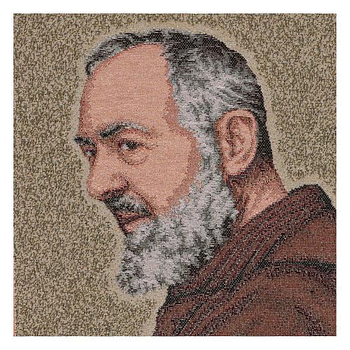 Gobelin Ojciec Pio złoty 40x30 cm 2