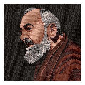 Arazzo Padre Pio profilo 40x30 cm s2
