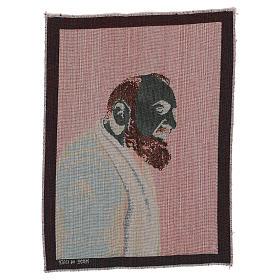 Arazzo Padre Pio profilo 40x30 cm s3