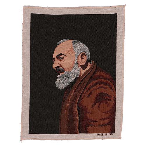 Arazzo Padre Pio profilo 40x30 cm 1