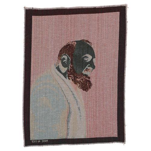 Arazzo Padre Pio profilo 40x30 cm 3