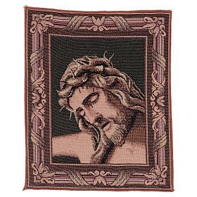 Wandteppich Christus-Antlitz mit Dornenkrone 40x30 cm s1