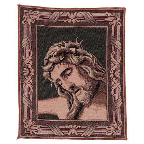 Wandteppich Christus-Antlitz mit Dornenkrone 40x30 cm 1