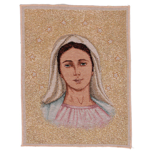 Tapiz Virgen de Medjugorje con Estrellas 40x30 cm 1