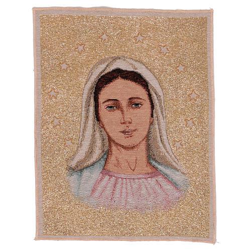 Tapeçaria Nossa Senhora de Medjugorje com estrelas 39x30 cm 1