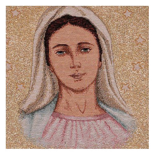 Tapeçaria Nossa Senhora de Medjugorje com estrelas 39x30 cm 2