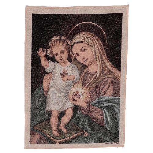 Arazzo Sacri Cuori Maria e Gesù 40x30 cm 1