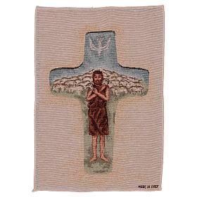 Tapisserie Croix Pape François couleurs 40x30 cm s1