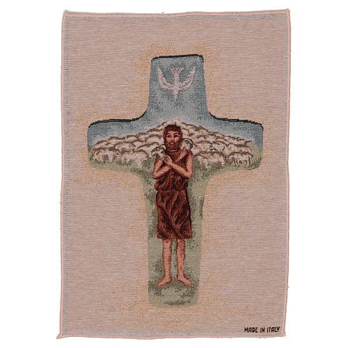 Tapisserie Croix Pape François couleurs 40x30 cm 1