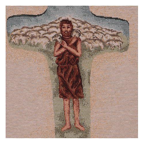 Tapisserie Croix Pape François couleurs 40x30 cm 2