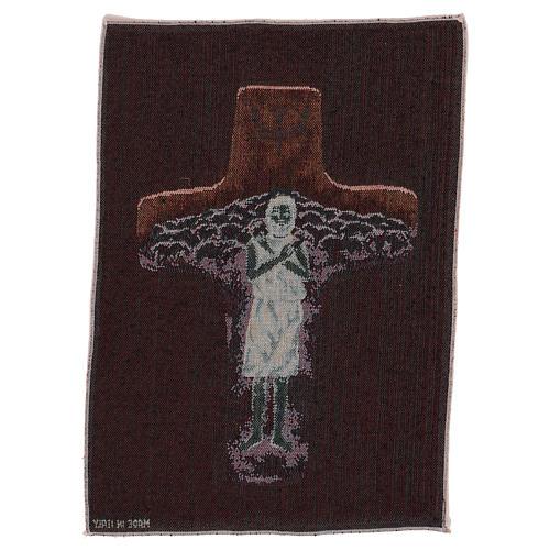 Tapisserie Croix Pape François couleurs 40x30 cm 3