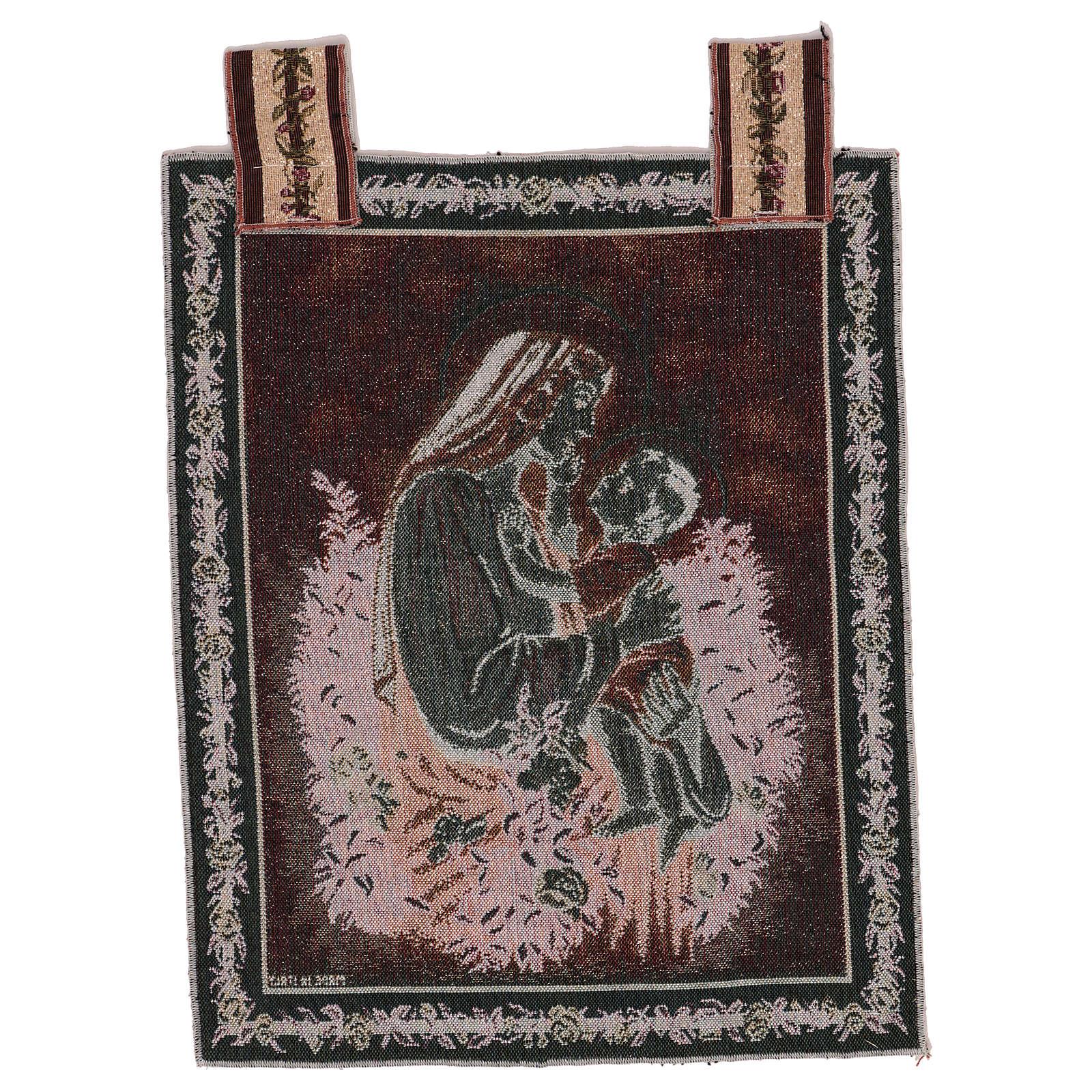 Wandteppich eine Mutter streichelt ihr Kind, mit Rahmen und Schlaufen 50x40 cm 3