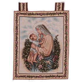 Wandteppich eine Mutter streichelt ihr Kind, mit Rahmen und Schlaufen 50x40 cm s1