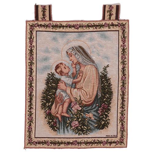 Wandteppich eine Mutter streichelt ihr Kind, mit Rahmen und Schlaufen 50x40 cm 1