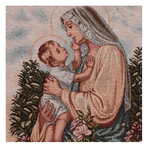 Wandteppich eine Mutter streichelt ihr Kind, mit Rahmen und Schlaufen 50x40 cm 2