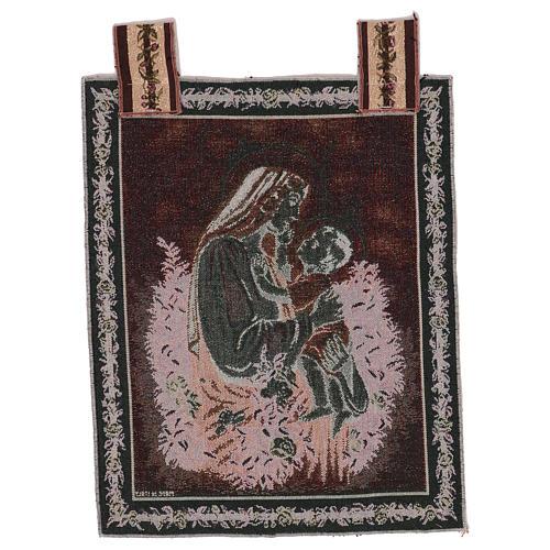 Arazzo Carezza del Bambino alla Madre cornice ganci 50x40 cm 3