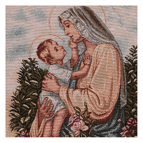 Baby Jesus stroking Our Lady wall tapestry with loops 18.5x15.5