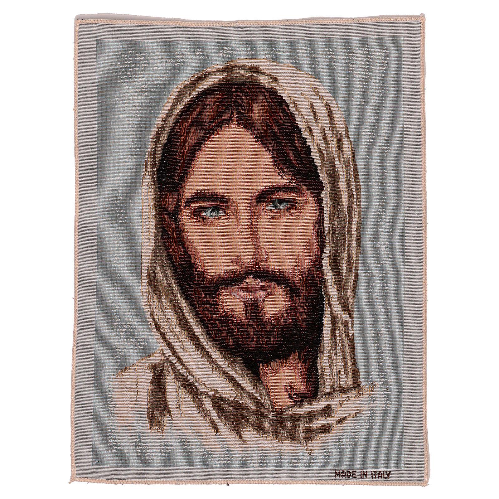 Wandteppich Antlitz Christi mit bedecktem Haupt 40x30 cm 3