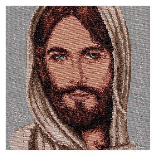 Arazzo Volto Cristo con Cappuccio 40x30 cm 2