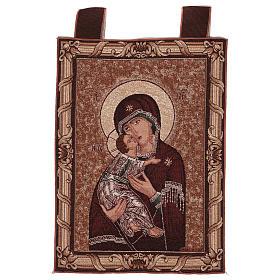 Arazzo Madonna della Tenerezza cornice ganci 50x40 cm s1