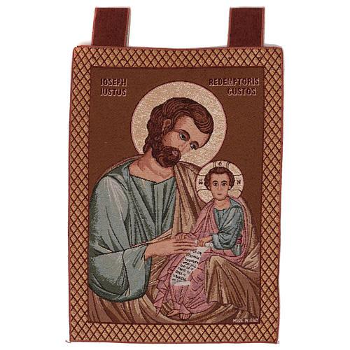 Arazzo San Giuseppe Bizantino cornice ganci 50x40 cm 1