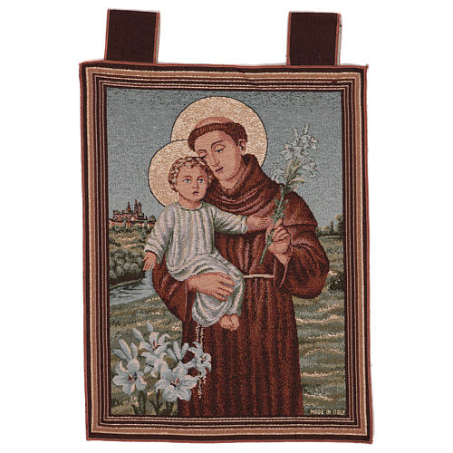Saint Anthony of Padua with flowers tapestry with frame and hooks 50x40 cm 1