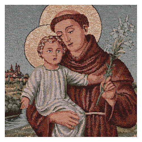 Saint Anthony of Padua with flowers tapestry with frame and hooks 50x40 cm 2