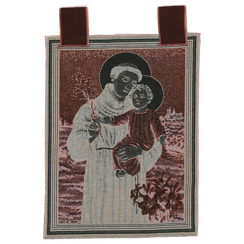 Saint Anthony of Padua with flowers tapestry with frame and hooks 50x40 cm 3