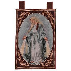Tapiz Virgen Misericordiosa marco ganchos 50x40 cm s1