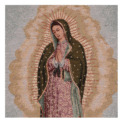 Arazzo Nostra Signora di Guadalupe cornice ganci 60x40 cm 2