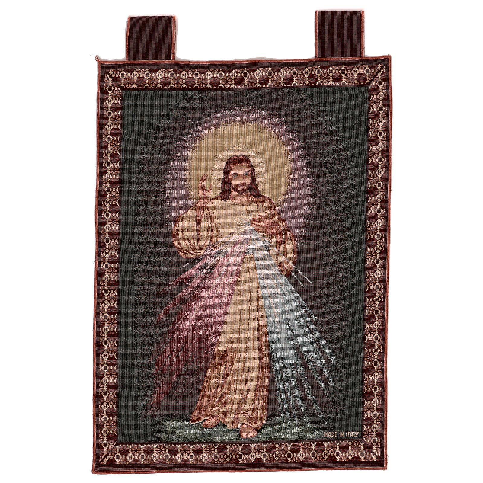 Wandteppich Barmherziger Jesus, mit Rahmen und Schlaufen 55x40 cm 3