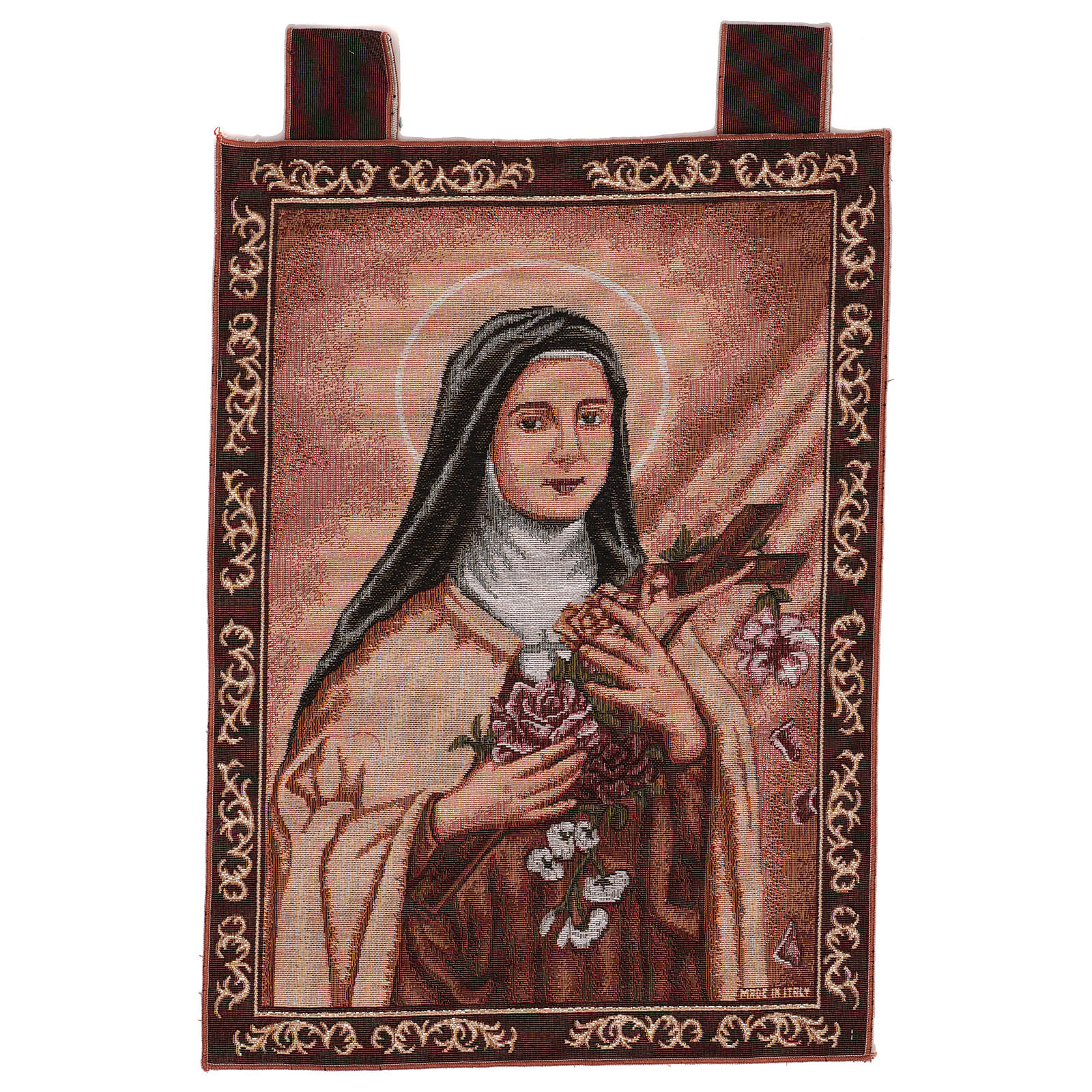 Tapiz Santa Teresa de Lisieux marco ganchos 50x40 cm 3