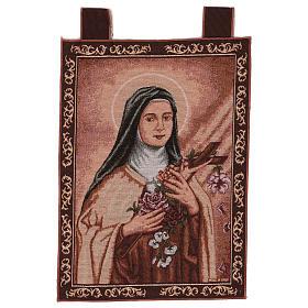 Tapiz Santa Teresa de Lisieux marco ganchos 50x40 cm s1