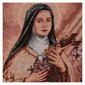 Tapiz Santa Teresa de Lisieux marco ganchos 50x40 cm s2