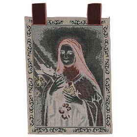Arazzo Santa Teresa di Lisieux cornice ganci 55x40 cm s3
