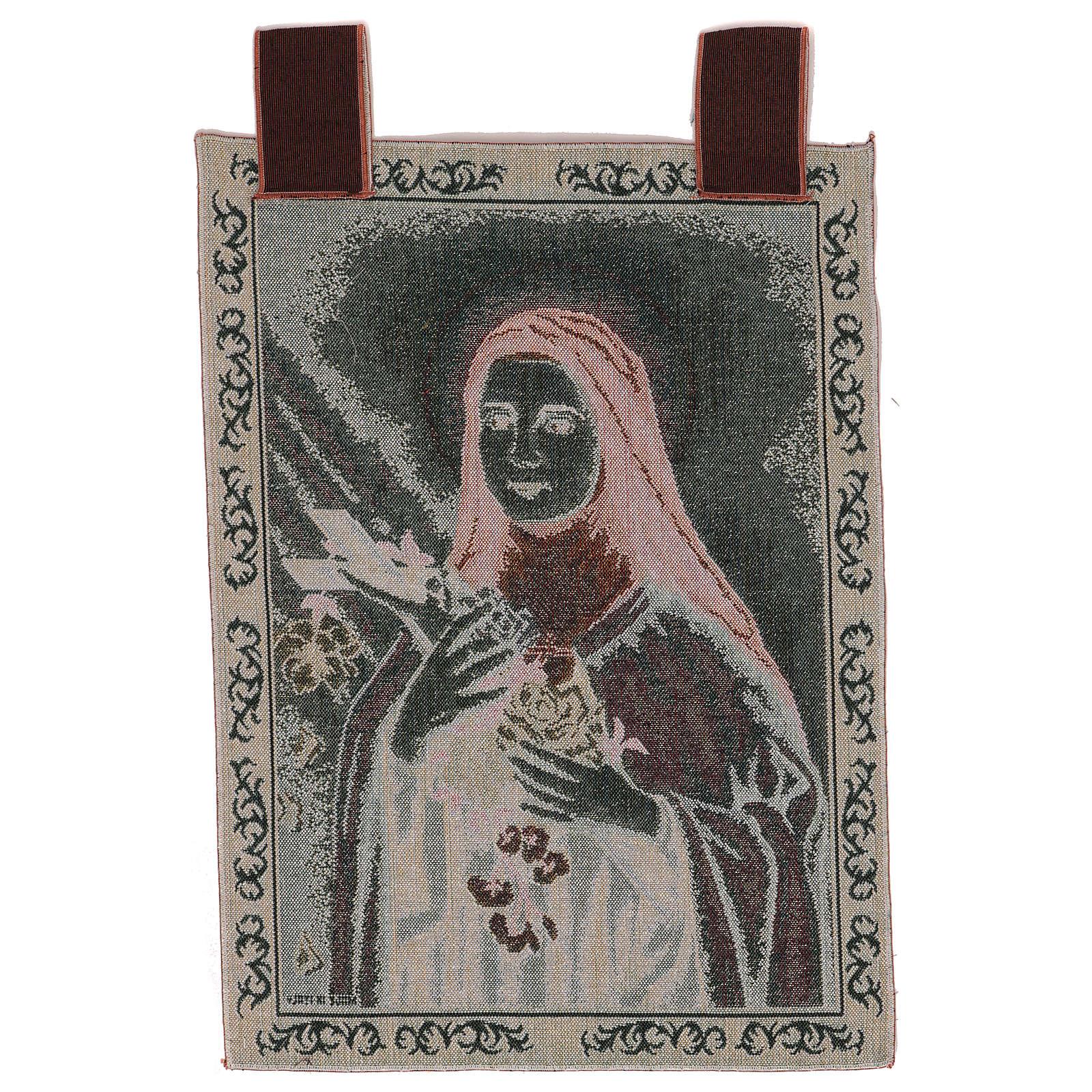 Tapeçaria Santa Teresa de Lisieux moldura ganchos 54x40 cm 3