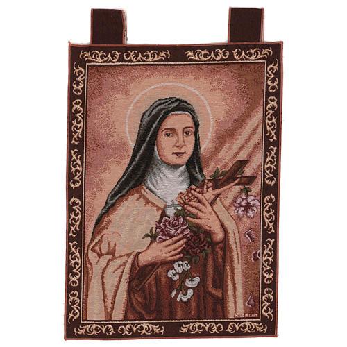 Tapeçaria Santa Teresa de Lisieux moldura ganchos 54x40 cm 1