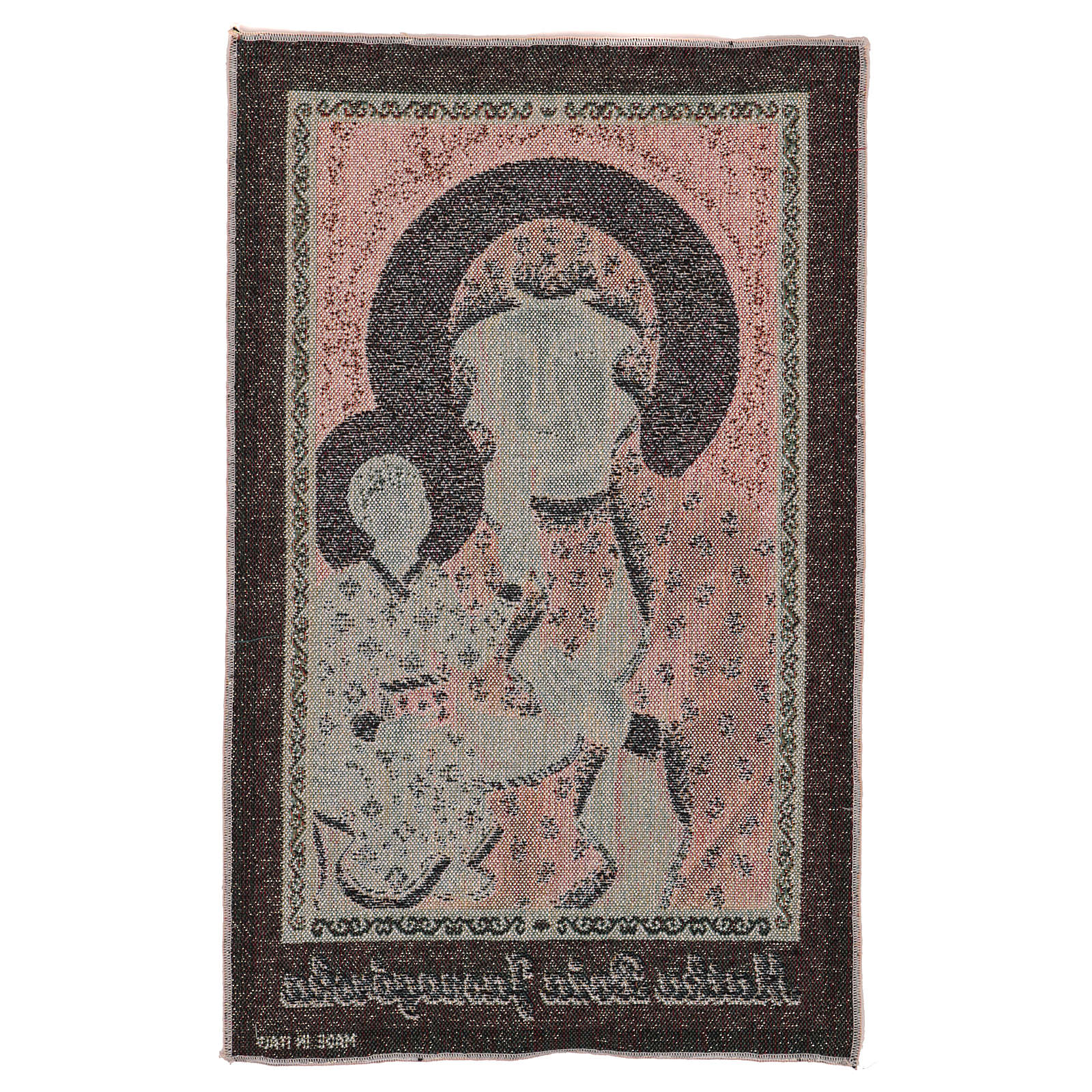 Our Lady of Czestochowa tapestry with golden background 19x12