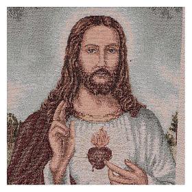 Arazzo Sacro Cuore di Gesù con paesaggio 40x30 cm s2