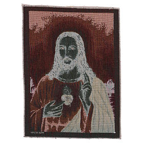 Arazzo Sacro Cuore di Gesù con paesaggio 40x30 cm s3