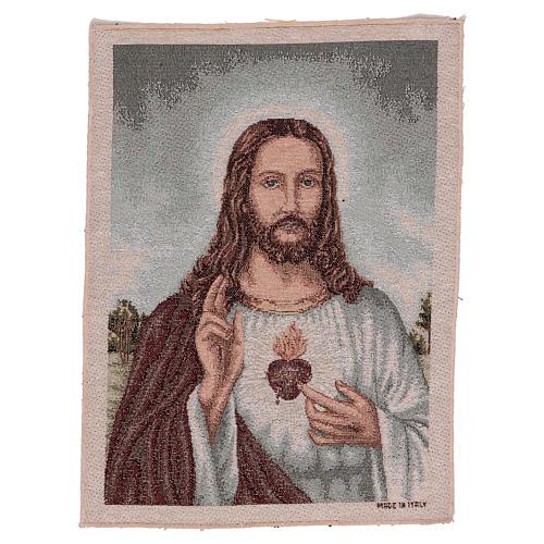 Arazzo Sacro Cuore di Gesù con paesaggio 40x30 cm 1