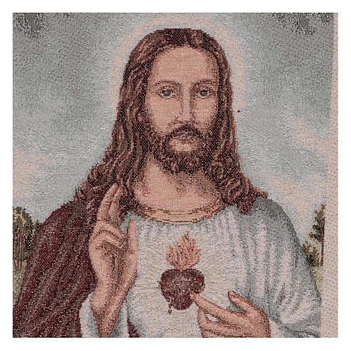 Arazzo Sacro Cuore di Gesù con paesaggio 40x30 cm 2