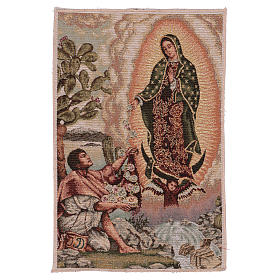 Tapestries: Juan Diego Guadalupe tapestry with golden background 40x30 cm