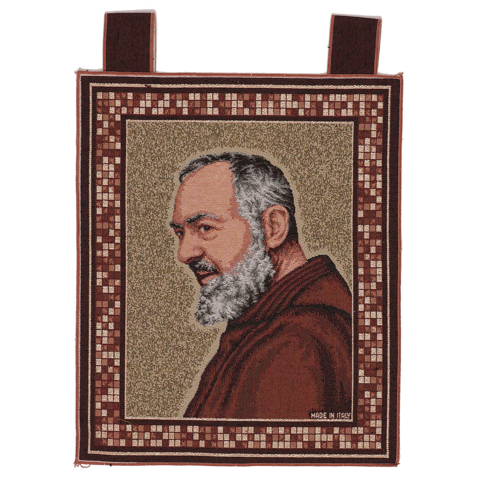 Arazzo Padre Pio profilo cornice ganci 45x40 cm 3