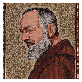 Arazzo Padre Pio profilo cornice ganci 45x40 cm s2