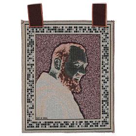 Arazzo Padre Pio profilo cornice ganci 45x40 cm s3