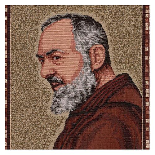 Arazzo Padre Pio profilo cornice ganci 45x40 cm 2