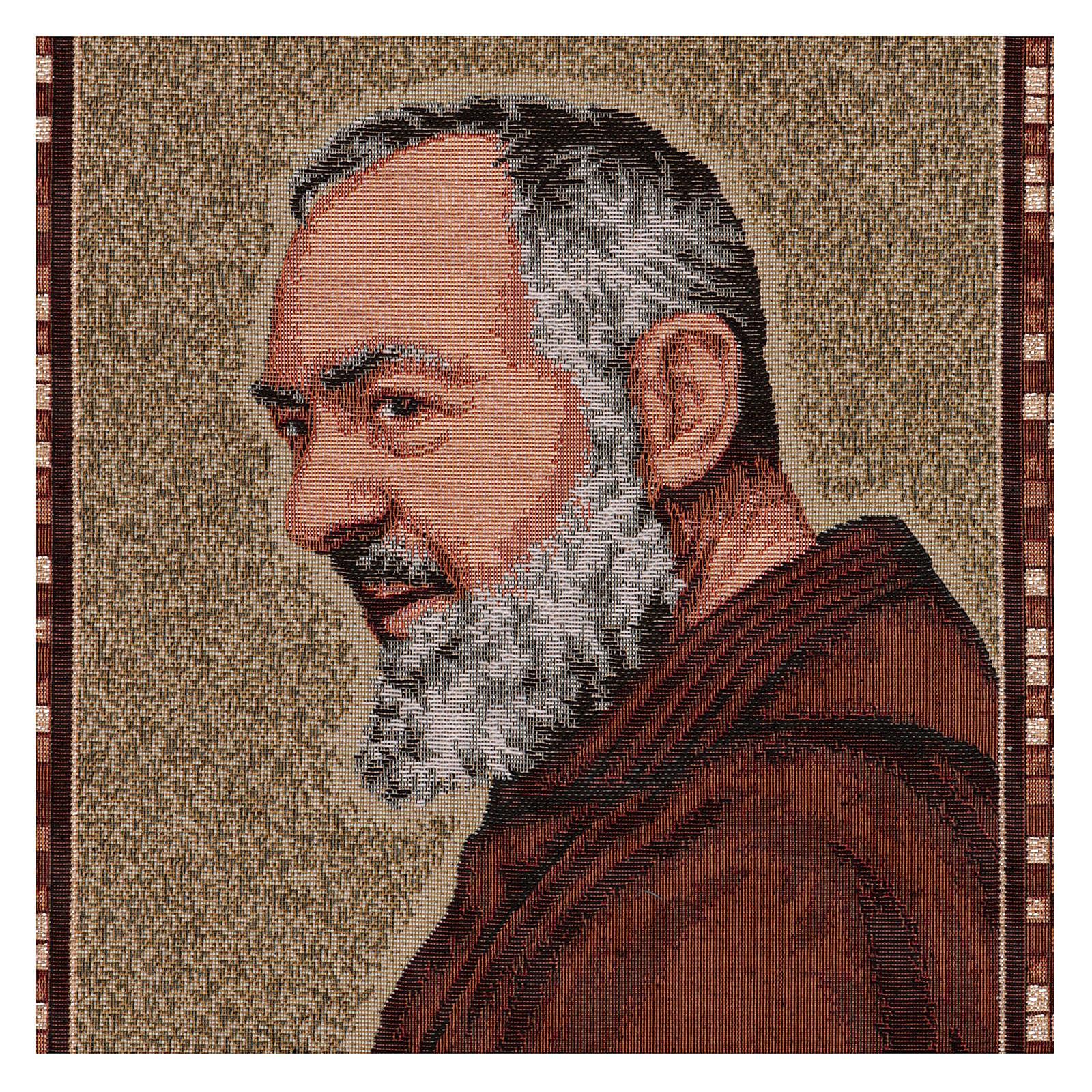Gobelin Ojciec Pio profil rama uszy 45x40 cm 3