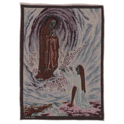 Arazzo Apparizione di Lourdes 50x40 cm 3