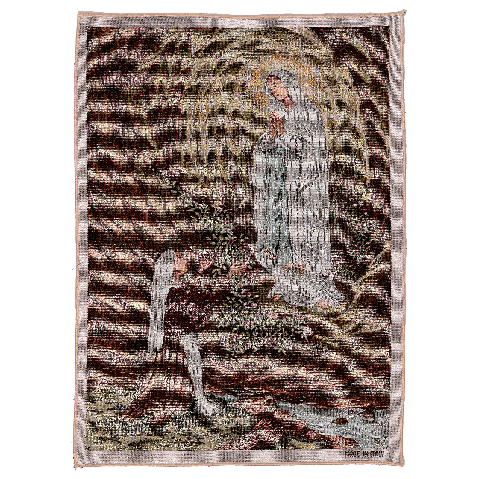 Our Lady apparition at Lourdes tapestry 20.5x16